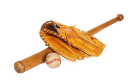 Baseball ball and mit. Baseball ball and glove, isolated on white background royalty free stock photo
