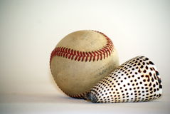 Baseball ball and oceans shell Stock Photography