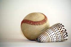 Baseball ball and oceans shell Stock Photography
