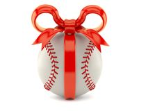 Baseball ball with red ribbon. Isolated on white background. 3d illustration Royalty Free Stock Photo