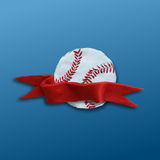 Baseball Ball with red ribbon Stock Photo