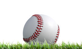 Baseball Ball Resting On Grass. A low upward view of a regular baseball ball resting on green grass on an isolated white background - 3D render Stock Image