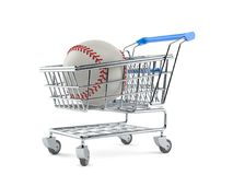 Baseball ball with shopping cart. Isolated on white background. 3d illustration Stock Image