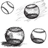 Baseball ball sketch set isolated on white background Stock Images