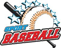 Baseball ball. Sports  for t-shirts, prints and logos. With ball bat is star Stock Images