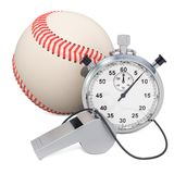Baseball ball with whistle and stopwatch, 3D rendering. Isolated on white background royalty free illustration