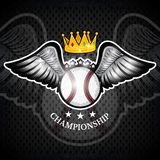 Baseball ball with wings and crown. Vector sport logo for any team. And championship royalty free illustration