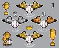 Baseball balls with wings cups and crown. Vector set of sport logo for any team. And championship royalty free illustration