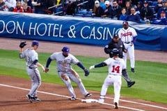 Baseball - Bang Bang Play at First Base!! Stock Images