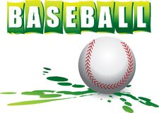 Baseball banner. And ball on green splattered ground Stock Photos