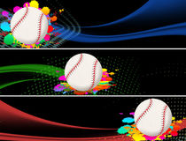 Baseball banners. Abstract baseball banners with colored splash on black,  illustration Royalty Free Stock Photography