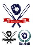 Baseball banners set. In heraldic style with laurel wreath, bats and ribbon isolated on white for design, such as sporting logo or emblem Stock Photos