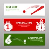 Baseball Banners Set. Baseball horizontal banners set with sport cup time shot elements isolated vector illustration Stock Photo