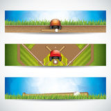 Baseball banners. Vector illustration of baseball banners with wooden bats and ball Royalty Free Stock Image