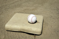 Baseball on base Royalty Free Stock Photo