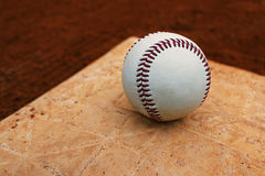 Baseball on a base Stock Image