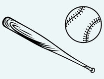 Baseball and baseball bat. Image isolated on blue background Royalty Free Stock Images