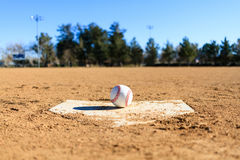 Baseball in a baseball field in California mountains Royalty Free Stock Images