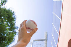 Baseball and baseball field and the sky Royalty Free Stock Images