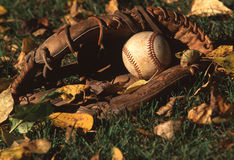 Baseball and baseball glove. A baseball and baseball glove with leaves stock photography