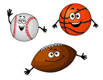 Baseball, basketball and rugby Royalty Free Stock Image