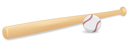 Baseball And Bat. An illustration of a baseball and bat. Shadows placed on separate layer for ease of use stock illustration