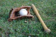 Baseball Bat. Photo of baseball bat with glove Royalty Free Stock Photos