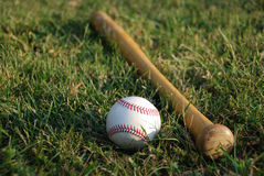 Baseball with Bat. Photo of baseball with bat Stock Photos