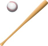 Baseball and bat. Isolated background with baseball and bat Royalty Free Stock Photos