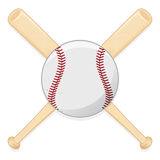 Baseball Bat And Ball. An illustration of a pair of crossed baseball bats and ball stock illustration