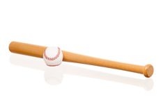Baseball bat and ball Royalty Free Stock Photos