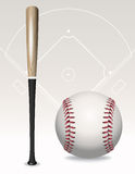 Baseball Bat, Ball, Field Elements Royalty Free Stock Photography