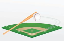 Baseball bat, ball and field. Vector illustration vector illustration