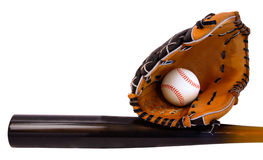 Baseball Bat, Ball and Glove Royalty Free Stock Photos