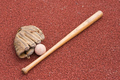 Baseball bat with ball and glove Stock Photography