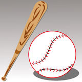 Baseball. Bat and ball on gray gradient background Stock Images
