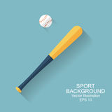 Baseball bat. Ball, icon with long shadow. sport baseball background. flat style, vector illustration Stock Images