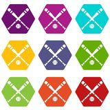 Baseball bat and ball icon set color hexahedron Royalty Free Stock Photography