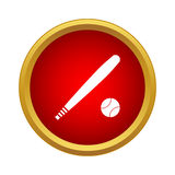 Baseball bat and ball icon in simple style. On a white background Royalty Free Stock Image
