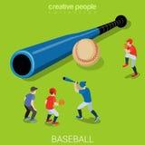 Baseball bat ball players game match flat isometric vector 3d Royalty Free Stock Image