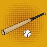 Baseball bat and ball pop art style vector Royalty Free Stock Photo