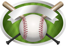 Baseball and Bat Emblem Illustration Stock Photo