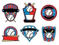 Baseball and Bat Emblems and Badges Stock Images