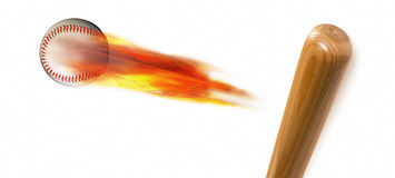 Baseball and Bat. Baseball on fire and bat with room for your type Royalty Free Stock Images