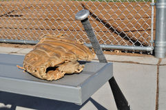Baseball Bat and Glove. On an Aluminum Bench Stock Images