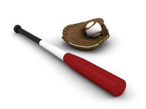 Baseball bat and glove Royalty Free Stock Photos