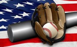 Baseball bat and glove on American flag. Baseball bat with ball and glove on American flag Stock Image