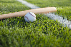 Baseball and bat in grass on a stripe. Baseball and bat in the grass on a field stripe Royalty Free Stock Photo