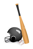 Baseball bat with helmet Stock Photo