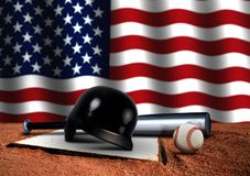 Baseball Bat with Helmet and American Flag Stock Image